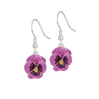 Eternal Collection Pansy Perfection Pink Enamel Silver Tone Flower Drop Pierced Earrings