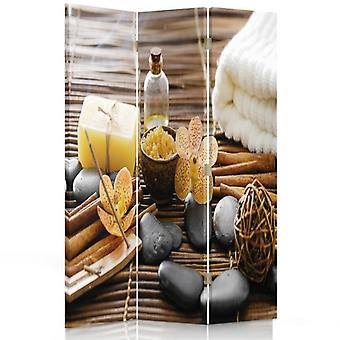 Room Divider, 3 Panels, Double-Sided, 360 ° Rotatable, Canvas, Spa Accessories