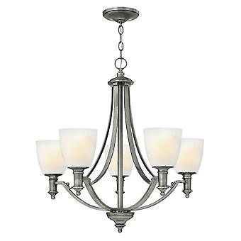 Truman Modern 5 Arm Chandelier with Etched Opal Glass Shades
