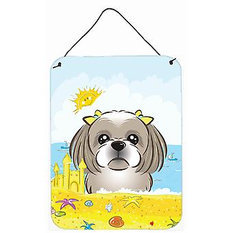 Gray Silver Shih Tzu Summer Beach Wall or Door Hanging Prints BB2118DS1216