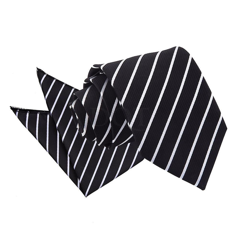 Single Stripe Black & White Tie 2 pc. Set