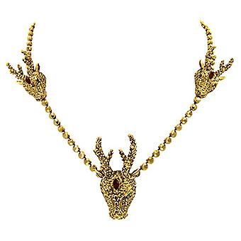 Butler & Wilson 3 Stag Heads on Round Crystals Chain Necklace