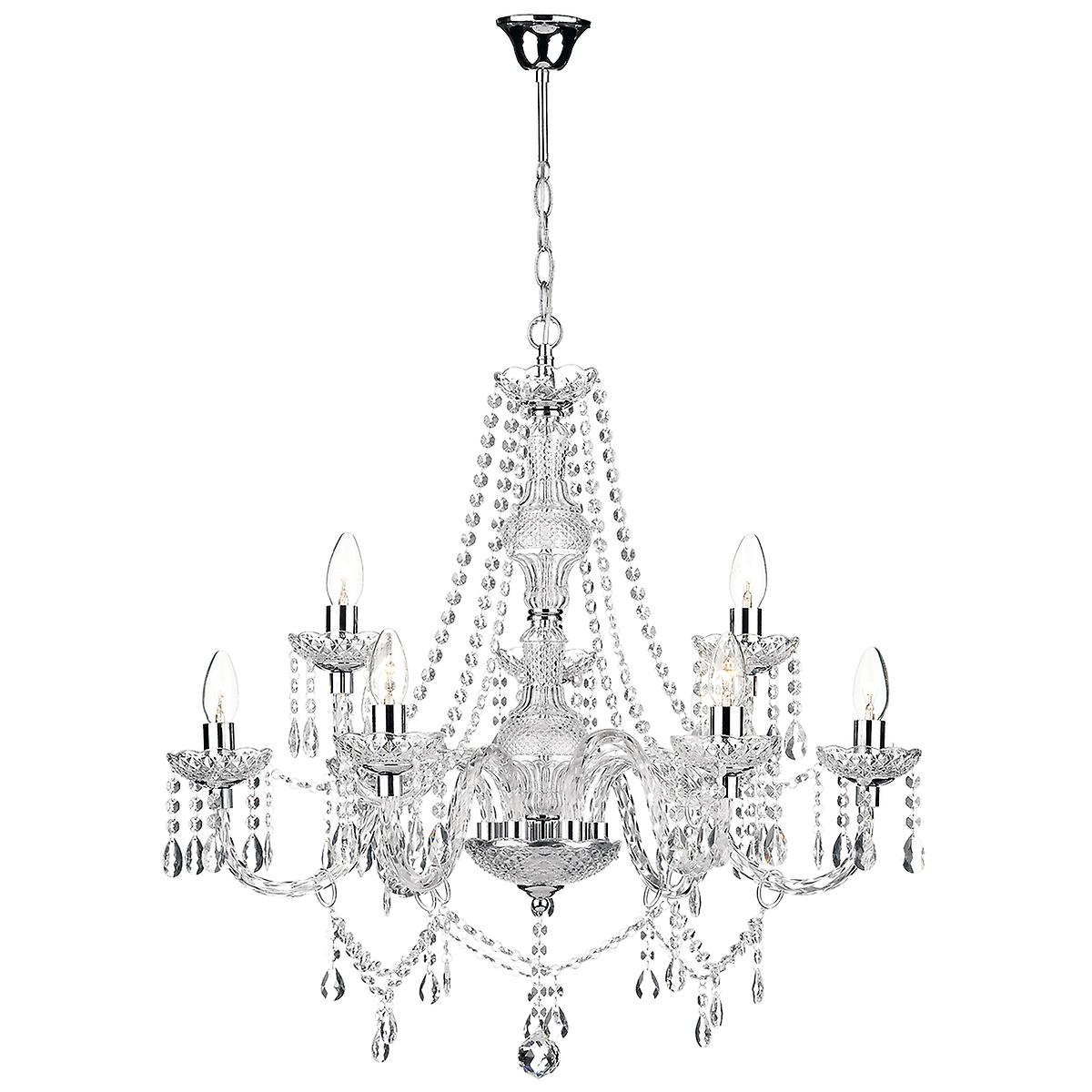 Dar KAT1350 Katie Contemporary 9 Arm Glass Crystal Chandelier