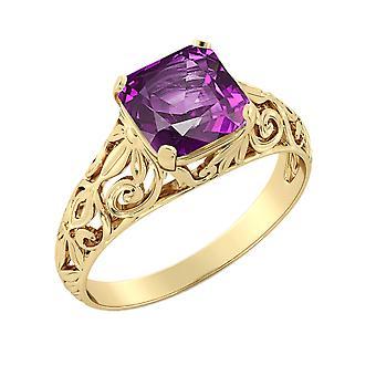 14K Yellow Gold 2.00 CT Amethyst Ring Vintage Art Deco Filigree