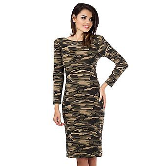 Camouflage Knee Length Bodycon  Green Camo Long Sleeve Dress