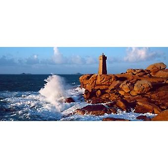 Waves crashing at Ploumanach Lighthouse Pink Granite Coast Perros-Guirec Cotes-dArmor Brittany France Poster Print