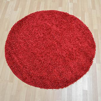 Ultima Shaggy Round Rugs In Red