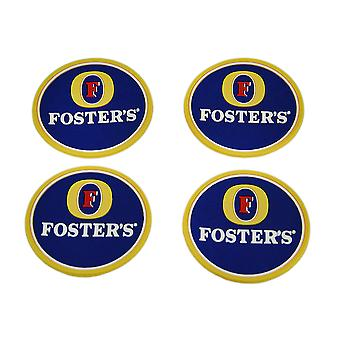 Set of 4 Fosters Lager Rubber Coasters Mini Beverage Mats