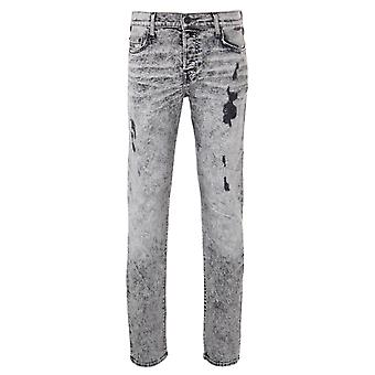 True Religion Rocco Acid Wash Relaxed Skinny Denim Jeans