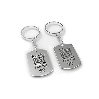 Brunette And Blonde Best Friend Key Chain Set - BFF Key Ring For Gift