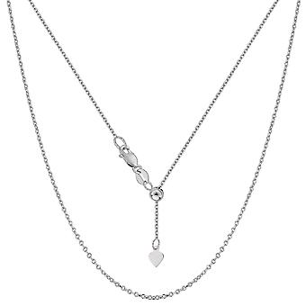 Sterling Silver Rhodium Plated Adjustable Cable Chain Necklace, 0.9mm, 22