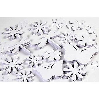 362 White Card Shapes - Butterfly, Dragonfly & Flowers