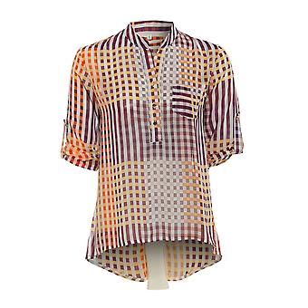 Checked Chiffon Shirt with Pleat Back