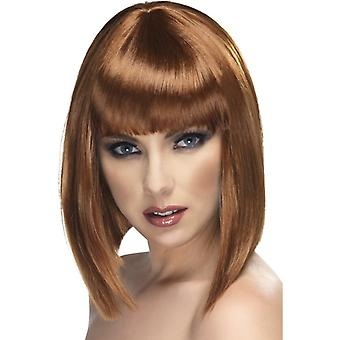 Glam, short, rounded wig, Brown, with bangs,