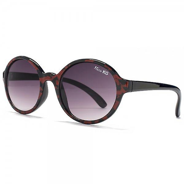 Miss KG Plastic Round Sunglasses In Black & Red Marble Print