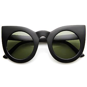 Womens Oversized Bold Rim Round Cateye Sunglasses