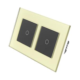 I LumoS Gold Glass Double Frame 2 Gang 2 Way Remote & Dimmer Touch LED Light Switch Black Insert
