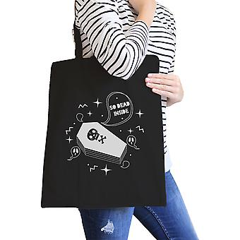 Dead Inside Coffin Tote Bag Halloween Cotton Canvas Grocery Bag