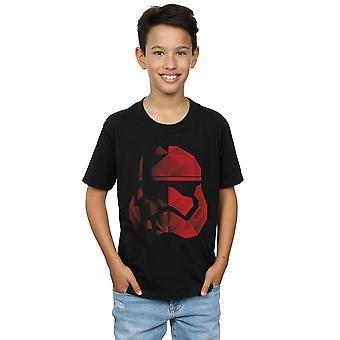 Star Wars Boys The Last Jedi Stormtrooper Red Cubist Helmet T-Shirt