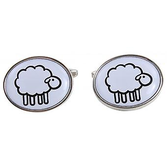 Zennor Sheep Illustration Cufflinks - White/Silver
