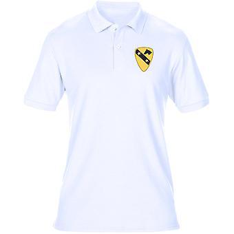 US Army 1st Cavalry DUI Crest geborduurd Logo - heren poloshirt