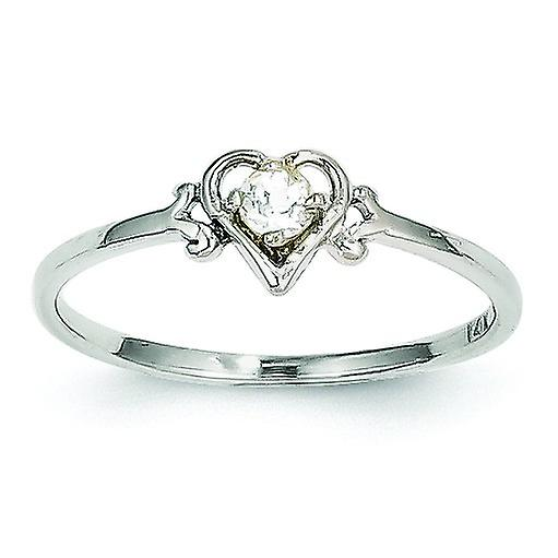 14k blanc or Polished April Heart Ring - 1.0 Grams
