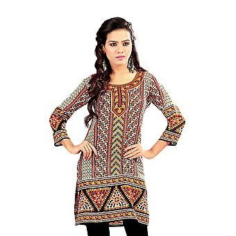 Paisley 3/4 sleeve Indian Printed  Kurti Tunic Women Kurta