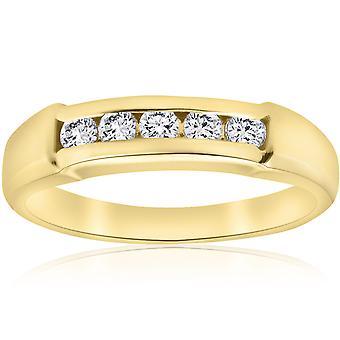 1/2ct Mens 14K Yellow Gold Round Diamond Wedding Ring