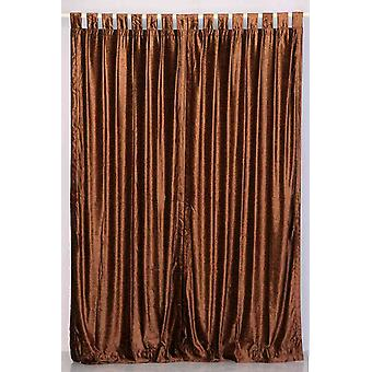 Brown Tab Top  Velvet Curtain / Drape / Panel  - Piece