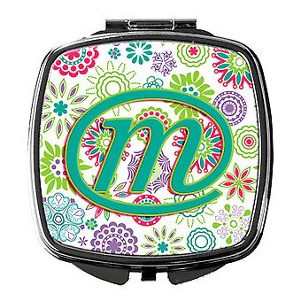 Letter M Flowers Pink Teal Green Initial Compact Mirror