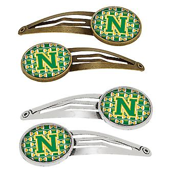 Letter N Football Green and Gold Set of 4 Barrettes Hair Clips