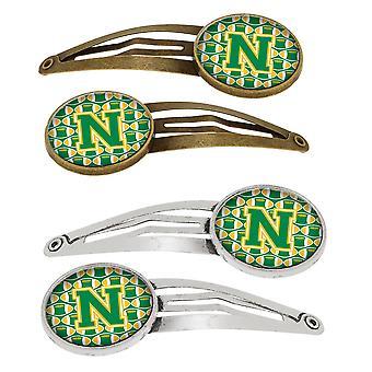 Letter N voetbal groen en goud-Set van 4 haarspeldjes Hair Clips