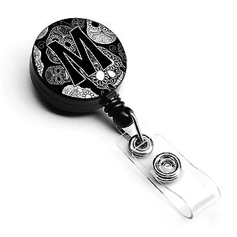 Letter M Day of the Dead Skulls Black Retractable Badge Reel