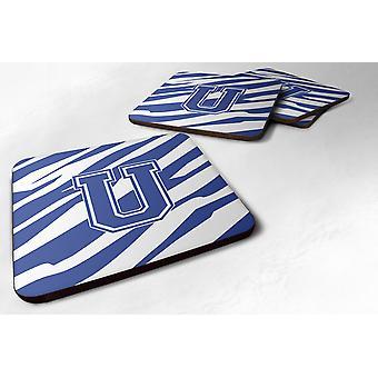 Set van 4 Monogram - Stripe Tiger blauw en wit schuim Coasters eerste Letter U