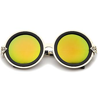 Bold Metal Ornate Cutout Temple Mirror Lens Round Sunglasses 54mm