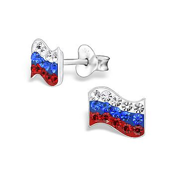 Russia Flag - 925 Sterling Silver Crystal Ear Studs