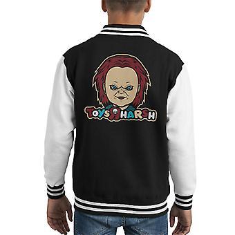 Chuckie Toys R Us Toy Are Harsh Logo Parody Kid's Varsity Jacket