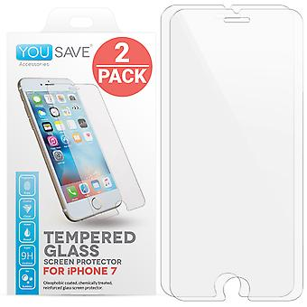 Yousave iPhone 7 verre Screen Protector - Twin Pack