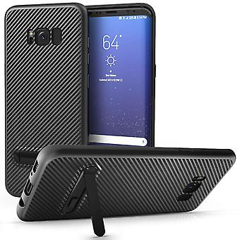 Samsung Galaxy S8 Plus Case, Carbon Fibre Textured Gel Cover | Shock Absorbing | Lightweight and Slim TPU Gel Protection With Stand - Black