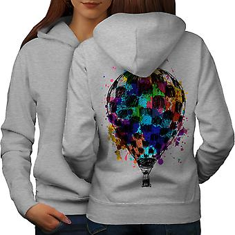 Air Balloon Journey Women GreyHoodie Back | Wellcoda