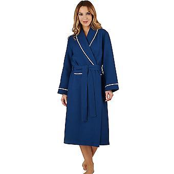 Slenderella HC1301 Women's Waffle Navy Dressing Gown Loungewear Bath Robe Housecoat Robe