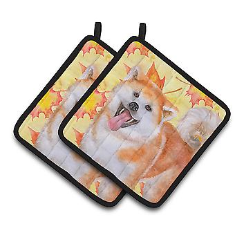 Carolines Treasures  BB9964PTHD Akita Fall Pair of Pot Holders