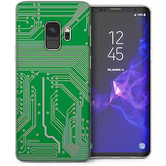 Samsung Galaxy S9 Microchip Print TPU Gel Case – Green