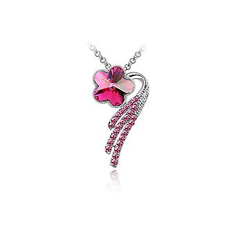 Womens Flower Petal Pendant Necklace Jewellery Hot Pink Crystal Stone
