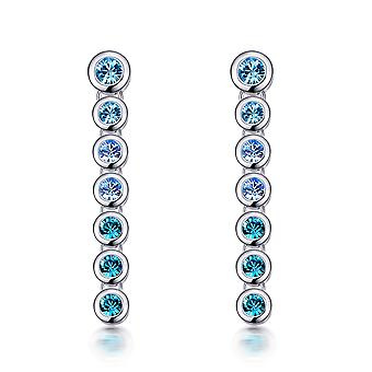 Cascade earrings adorned with Blue Swarovski crystals