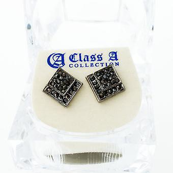 Black bling iced out earrings - EDGED 10 mm