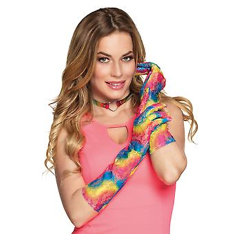 Boland Long Rainbow Gay Pride Lace Gloves Fancy Dress Party Accessory