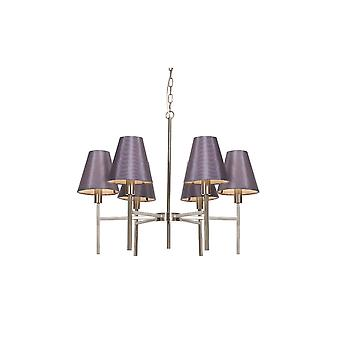 Steel And Brushed Nickel Six Light Chandelier - 6 x 25W E14