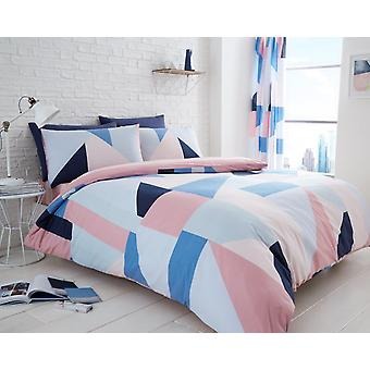 Sydney kontrollera triangel 4 st påslakan och lakan Polycotton sängkläder inställd