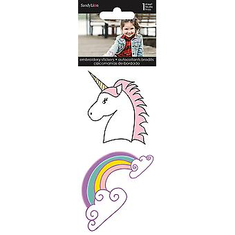 Unicorn & Rainbow Embroidered Stickers 2/Pkg-